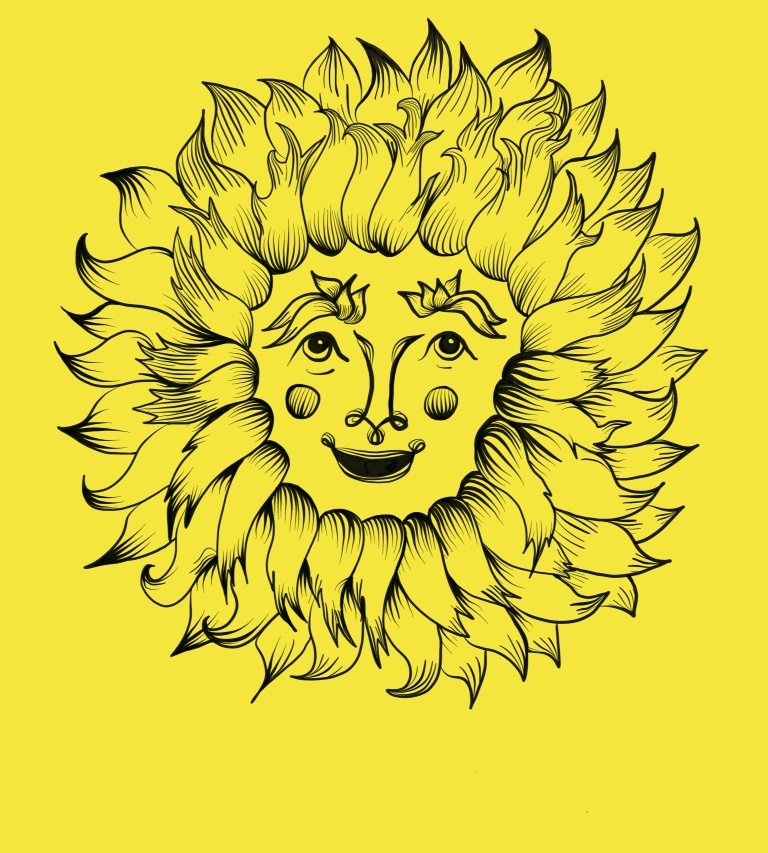 Original illustration by Colin Darke of Aesop fable the Wind and the Sun